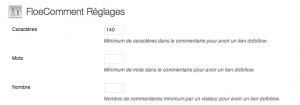 floecomment réglages settings